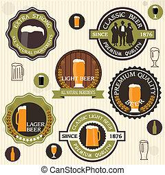 estilo, cerveja, cobrança, etiquetas, emblemas, vindima