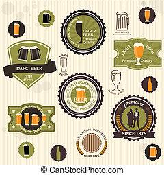 estilo, cerveza, etiquetas, insignias, vendimia
