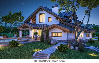 estilo, chalet, cómodo, casa, moderno, interpretación, 3d