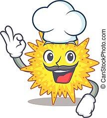 estilo, chapéu, cozinheiro, mycoplasma, branca, desgastar, caricatura, desenho