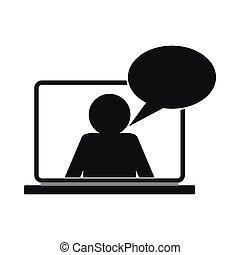 estilo, charla, simple, en línea, icono