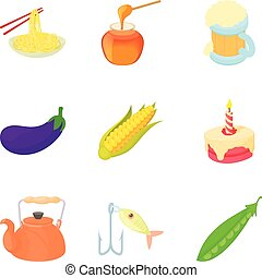 estilo, chinês, ícones, alimento, jogo, caricatura