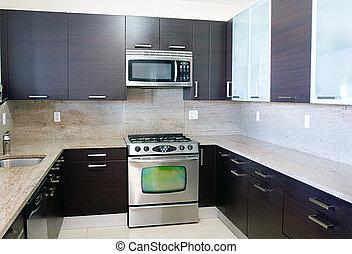 estilo, cima, contemporáneo moderno, granito, cocina