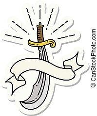 estilo, cimitarra, espada, tatuaje, pegatina