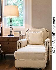 estilo, clásico, sofá, lujo, dormitorio, interior