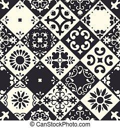 estilo, clássicas, floral, majolica, seamless, pretas, méxico, cerâmico, tradicional, arte, pássaro, ornamentos, talavera, design., puebla., azulejos, mosaico, mexicano, pattern., flor, white., povo, folhas