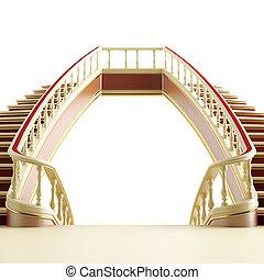 estilo, clássico, escada madeira, fundo, branca