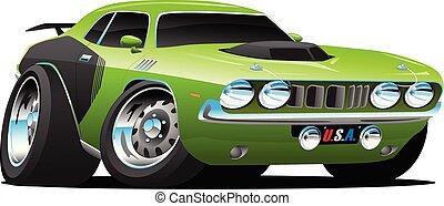estilo, coche clásico, seventies, ilustración, norteamericano, vector, músculo, caricatura