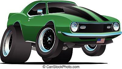 estilo, coche clásico, sixties, ilustración, norteamericano, vector, músculo, caricatura