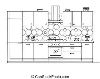 estilo, cocina, bosquejo, furniture., vector, ilustración