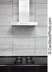 estilo, cocina, gas-stove, moderno, minimalism, capucha, ...