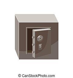 estilo, cofre, ícone, segurança, abertos, caricatura