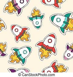 estilo, cohete, patrón, remiendo, dibujado, barco, mano, icono