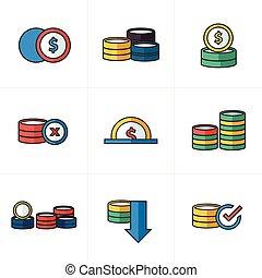 estilo, coins, conjunto, caricatura, iconos