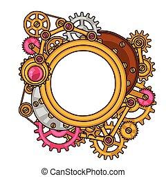 estilo, colagem, steampunk, quadro, metal, engrenagens, doodle
