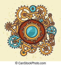 estilo, collage, steampunk, metal, engranajes, garabato