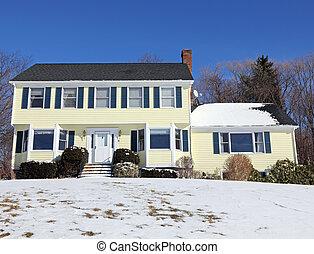 estilo colonial, inverno, casa