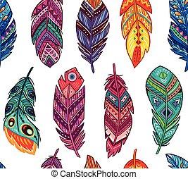 estilo, coloreado, patrón, resumen, plumas, seamless, boho, ...