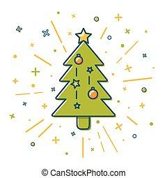 estilo, colorido, árvore, linha magra, natal, ícone