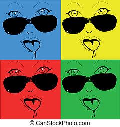 estilo, colorido, caras, menina, qualquer, pop-art, óculos