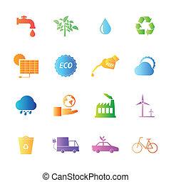 estilo, coloridos, ícones, eco, set., vetorial