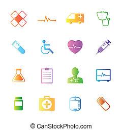 estilo, coloridos, ícones, médico, vetorial, set.
