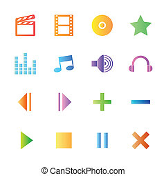 estilo, coloridos, ícones, mídia, set., jogador, vetorial