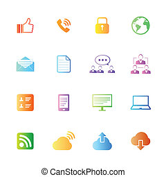 estilo, coloridos, ícones, set., vetorial, internet
