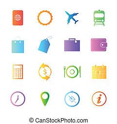 estilo, coloridos, ícones, viagem, vetorial, set.