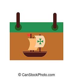estilo, columbus, icono, día, barco, calendario, caravel, plano