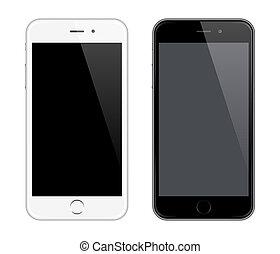 estilo, como, realista, móvil, mockup, teléfono, vector,...