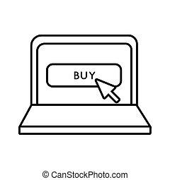 estilo, comprar, icono, botón, línea, computador portatil