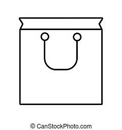 estilo, compras, icono, bolsa, línea