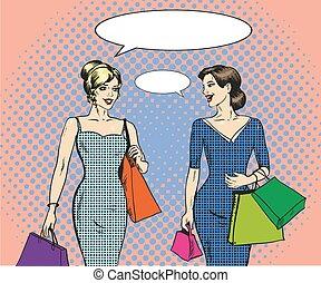 estilo, compras, taponazo, vector, ilustración, arte, mujeres, retro