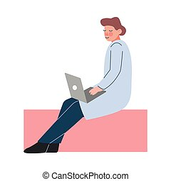 estilo, computador, agasalho, apartamento, trabalhando, vetorial, ou, cientista, personagem, doutor, laptop, branca, ilustração
