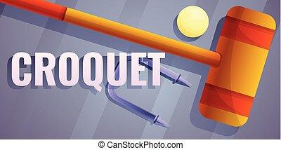 estilo, conceito, bandeira, equipamento, croquet, caricatura