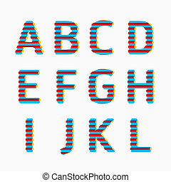 estilo, conceito, illustration., alfabeto, cor, modernos, papel, vetorial, linha, design.