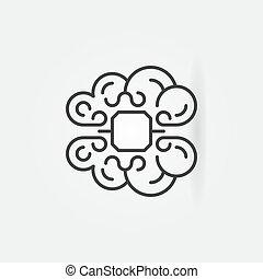 estilo, conceito, lasca, cérebro, magra, human, linha, ícone