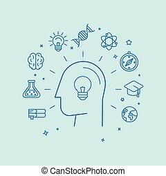 estilo, conceito, linear, vetorial, aprendizagem, educação
