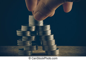 estilo, concepto, baht, dinero, coins, efecto, mano, filtro, retro, vendimia, tailandés