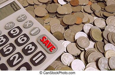 estilo, concepto, calculadora, dinero, botón, excepto, inversión, rojo