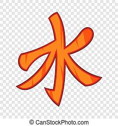 estilo, confuciano, símbolo, icono, caricatura