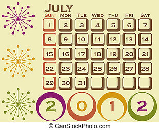 estilo, conjunto, 1, retro, julio, calendario, 2012