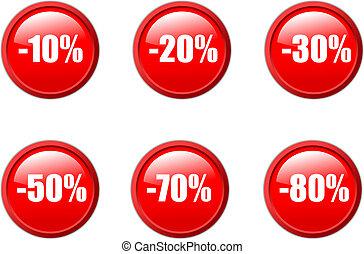 estilo, conjunto, agua, ventas, botones, descuento, vector, ...