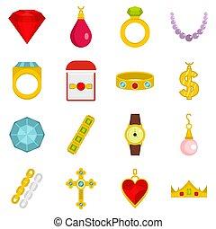 estilo, conjunto, artículos, joyas, iconos, plano