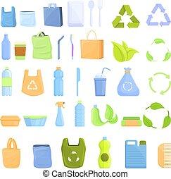estilo, conjunto, caricatura, biodegradable, plástico, iconos