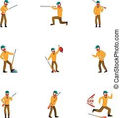 estilo, conjunto, cazador, pato, caricatura, icono