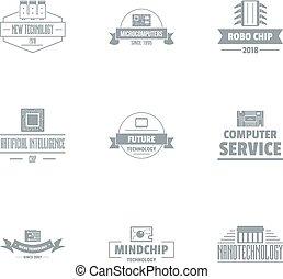 estilo, conjunto, comp, simple, servicios, logotipo