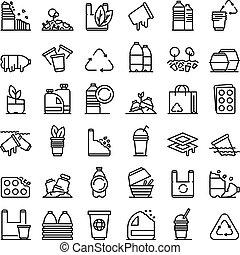 estilo, conjunto, contorno, biodegradable, plástico, iconos