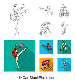 estilo, conjunto, contorno, iconos, boxeo, símbolo, web., ciclismo, ilustración, bitmap, hockey, hielo, colección, volleyball.olympic, deporte, acción